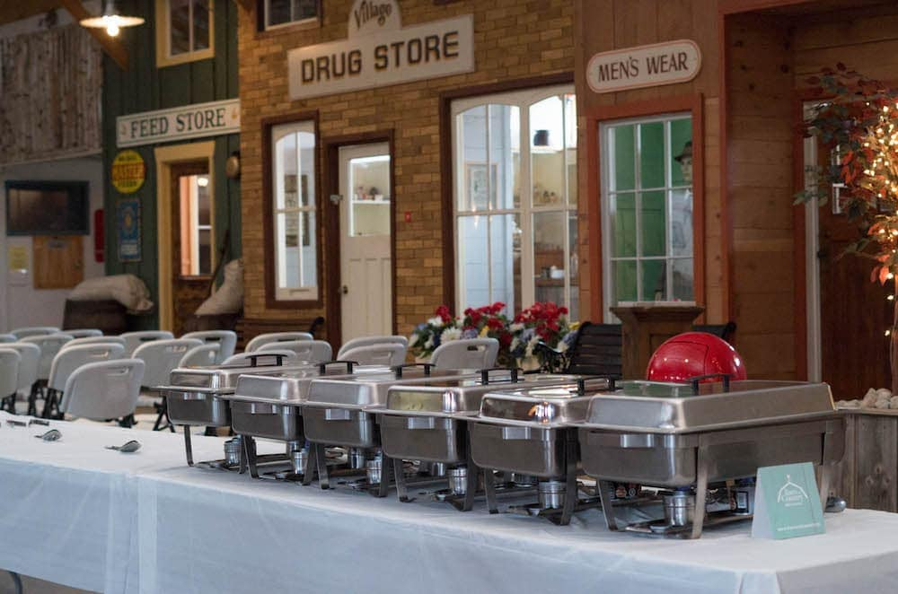 Catering hot plates on display at a wedding
