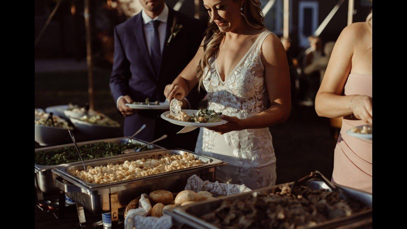 Bride at a buffet
